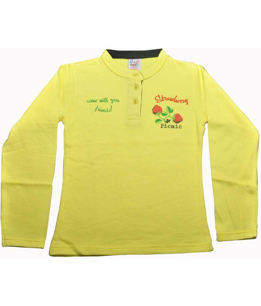 Bg Casual Yellow Cotton Chinese Collar Strawberry Girl's Full Sleeve Sweatshirt