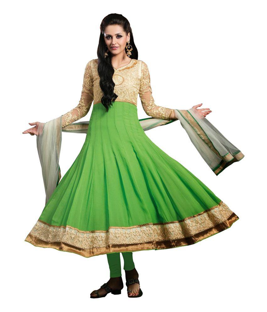 Great Trendz Green Pure Georgette Regular Fit Salwar Suit