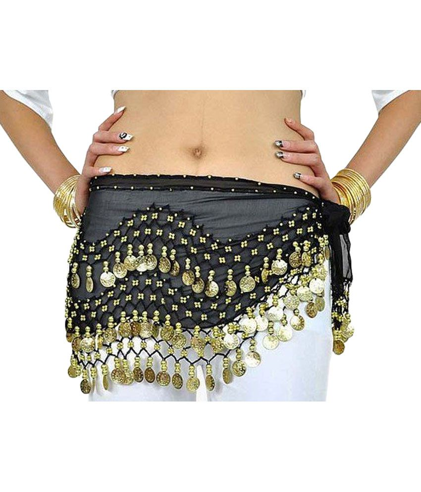 Usa Multi Color Belly Dance Hip Skirt Scarf Wrap Belt Hipscarf 3 Rows Gold Coins