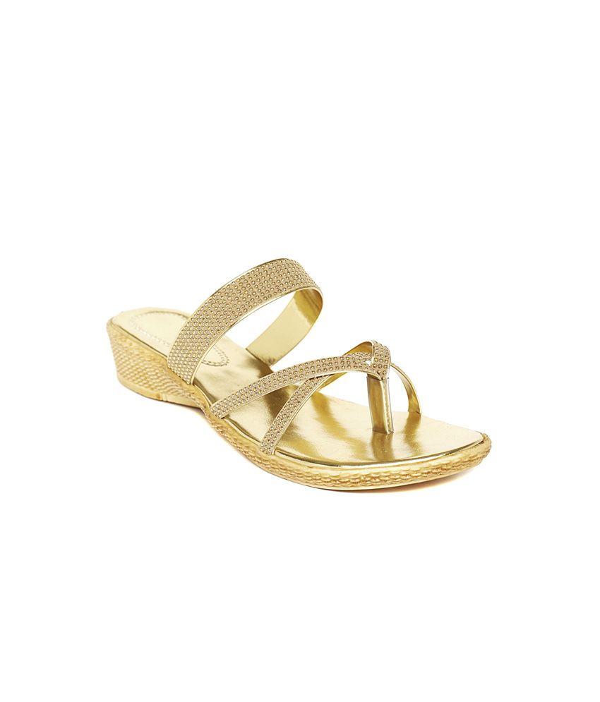 Foot Jewel Gold Low Heel Cross Strap Open Toe Back Open Wedges Comfort Heeled Slip-On