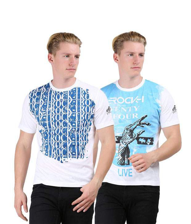 Rock I Mens Fashion Printed T Shirt Pack Of 2 Combo 40