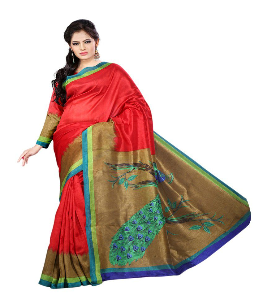 e-vastram Red  Saree