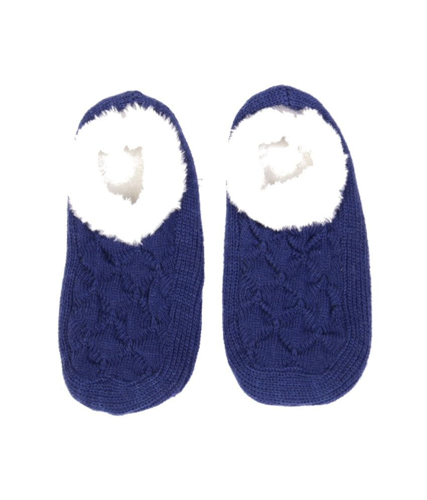 Zanky Designer Navy Woolen Women Footies