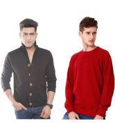 Casual Tees Black Jacket And Maroon Sweatshirt Combo