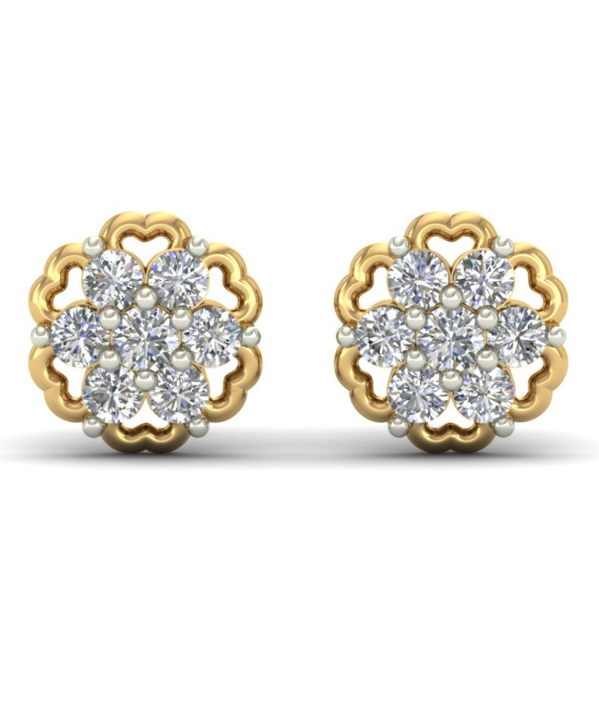 Aurobliss.com White And Gold Floral Studs
