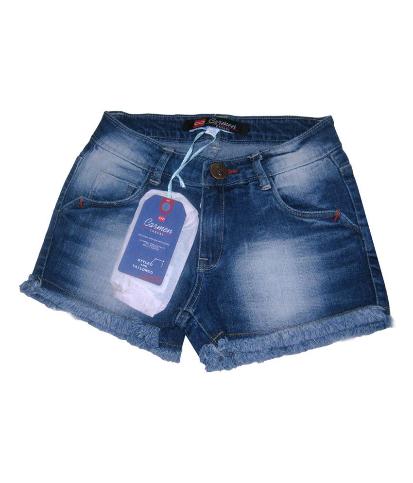 Carmen Casusals Girls Denim Short With Embroidery At Bottom