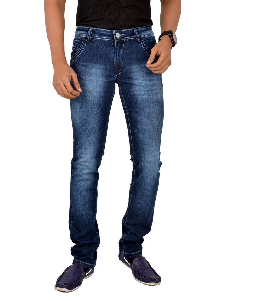 Concord Blue Cotton Slim Fit Faded Jeans For Men