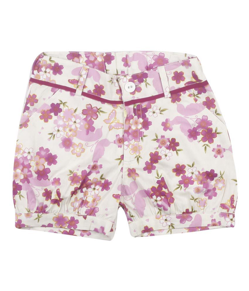 Hunny Bunny Purple Cotton Flower Printed Short