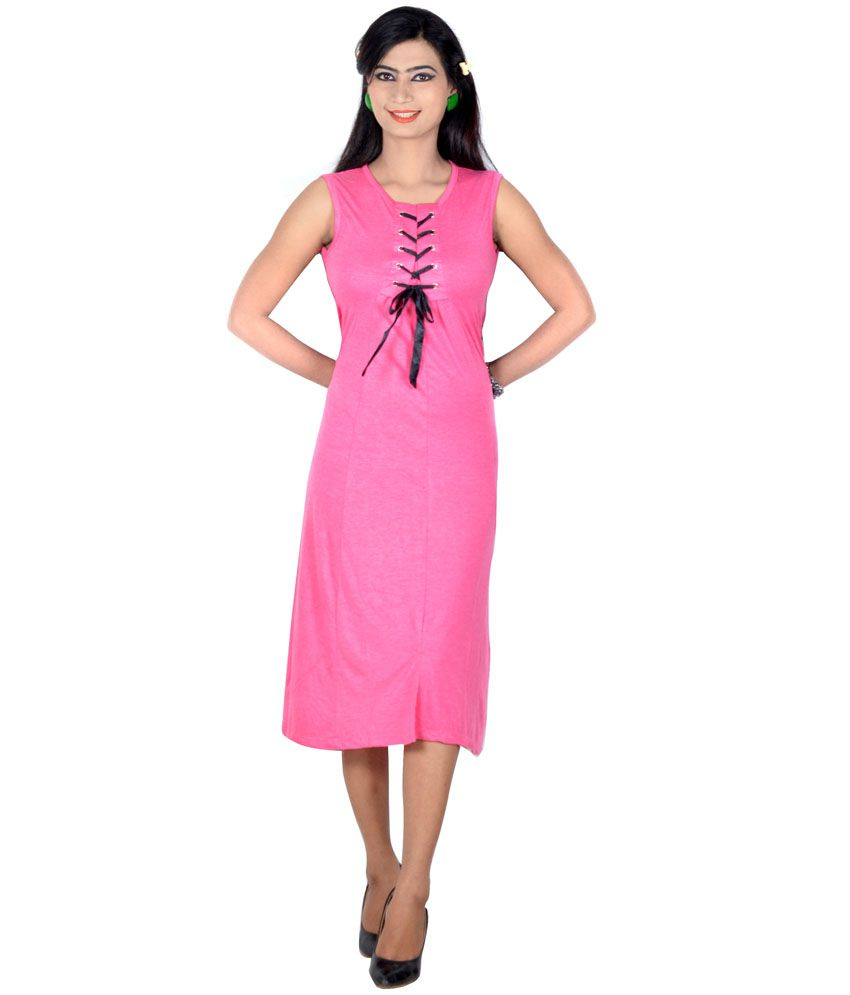 723978d999b966 Vivaa Pink Solids Hosiery Round Neck Long Top for Women - Buy Vivaa Pink  Solids Hosiery Round Neck Long Top for Women Online at Best Prices in India  on ...