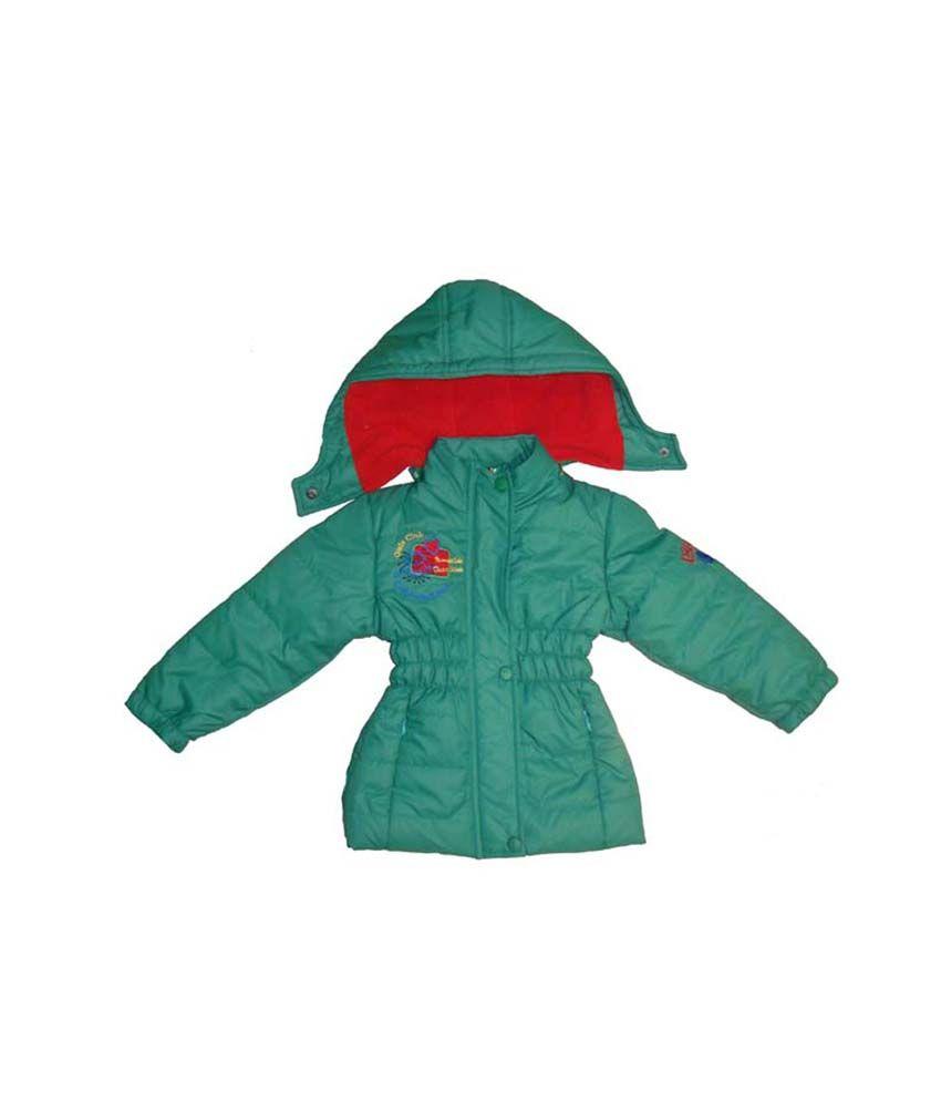 Bodingo Green Synthetic Full Sleeve With Hood Padded Jacket For Girls
