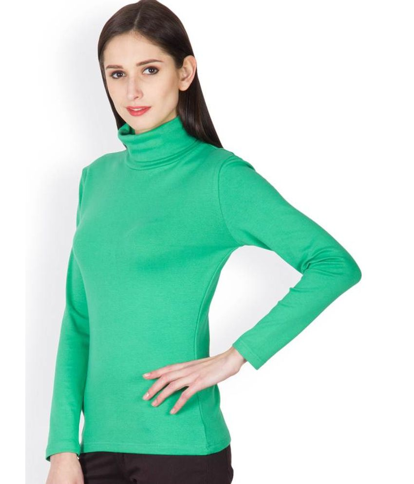 Buy Hypernation Green Cotton High Neck T-Shirt Online at Best Prices ... f4a5e1461