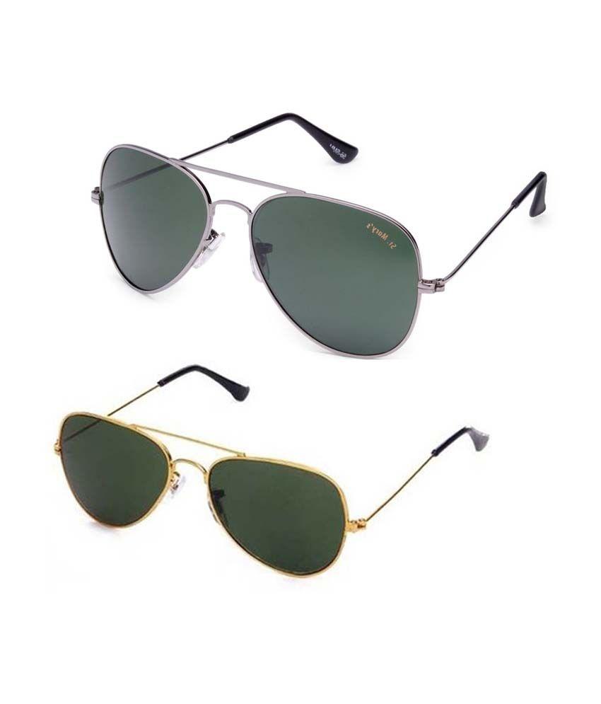 Saugat Traders Green Aviator Combo Set Of Gray & Green Aviator Sunglasses With Case