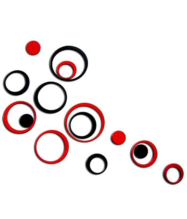 MM Decors Acrylic 3D Red Black Circle Wall Stickers 10 ...