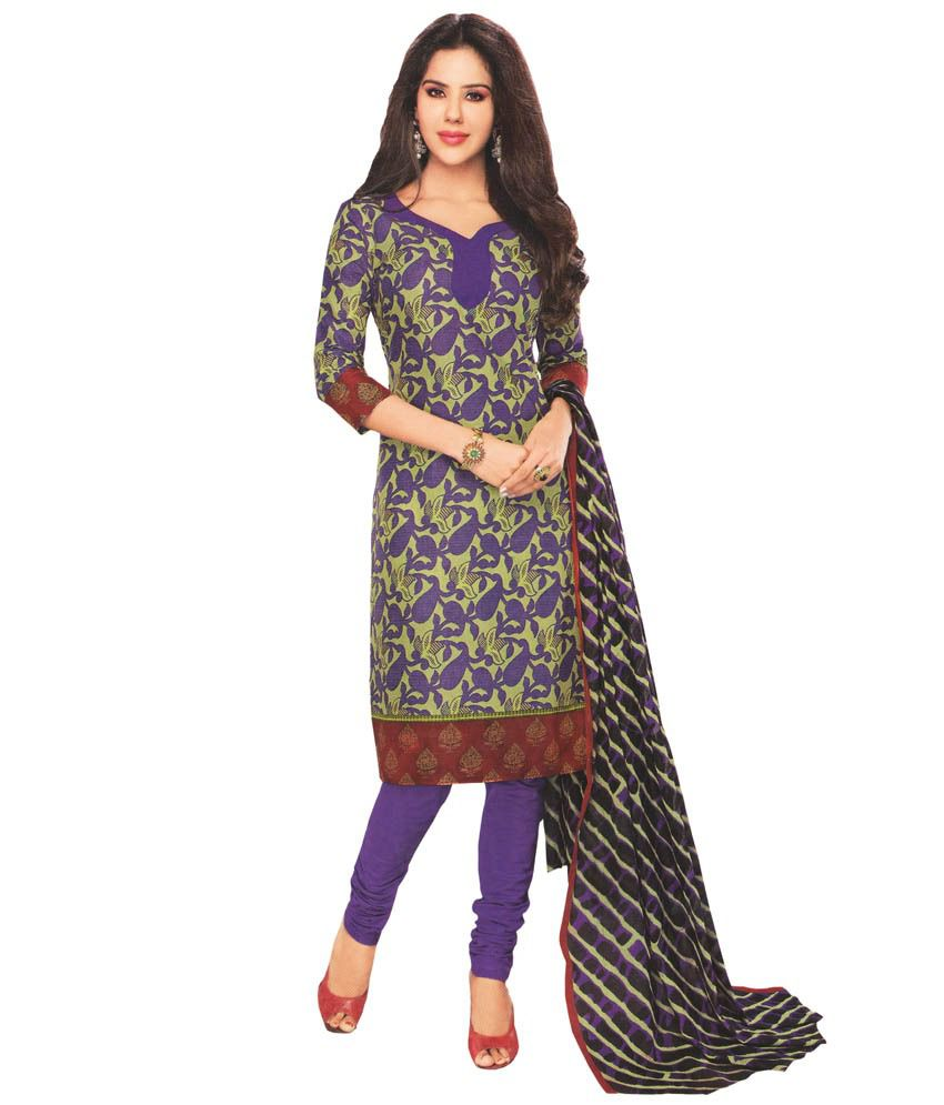 Javuli Purple Cotton Unstitched Dress Material