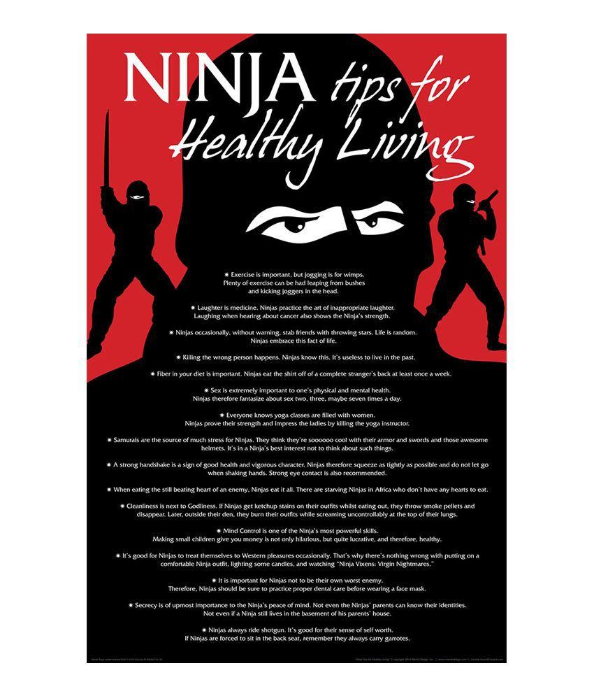 Bcreative Ninja Tips For Healthy Living Poster