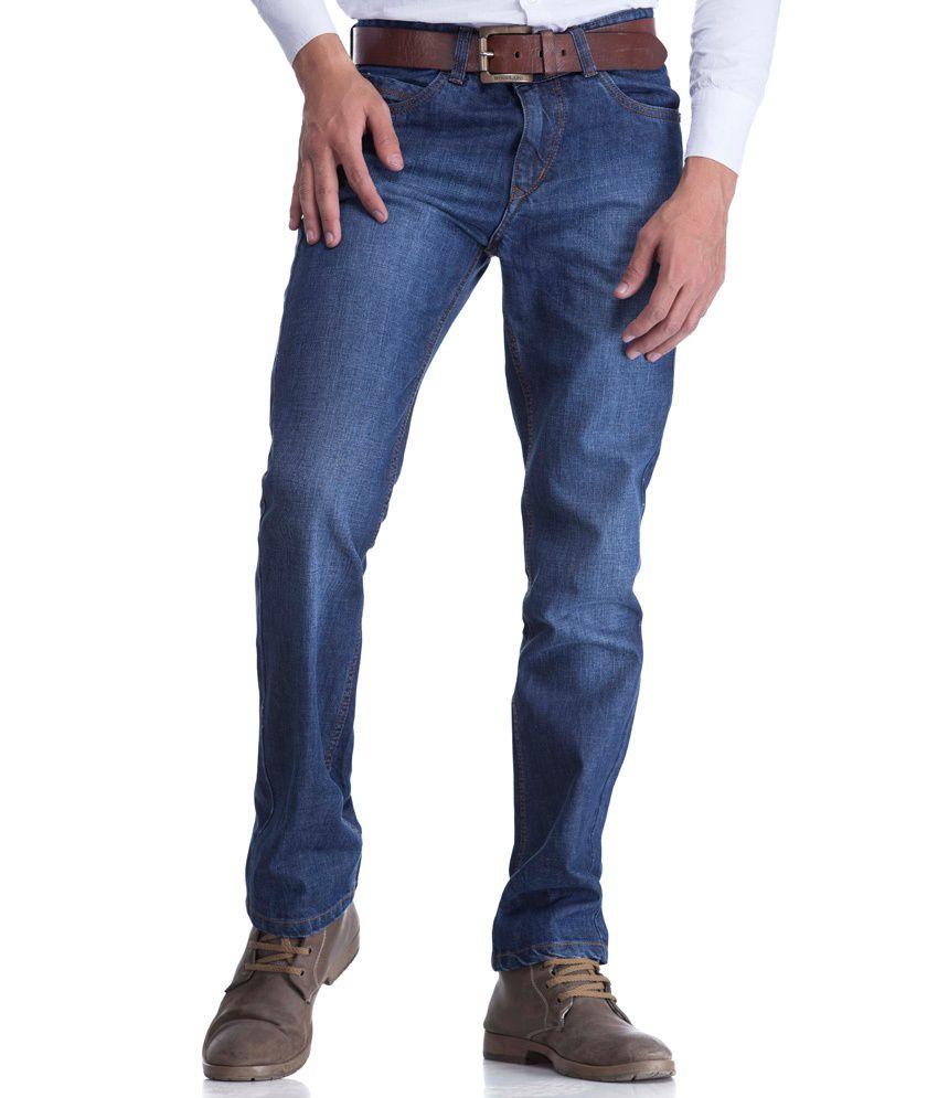 Fever Blue Cotton Denim Men's Regular Jeans