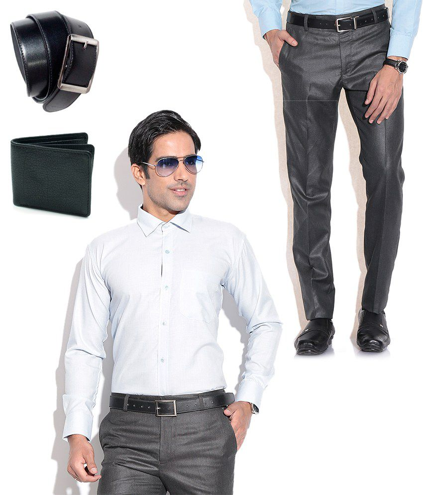 Fizzaro Combo of Black Formal Trouser, White Shirt, Belt & Wallet