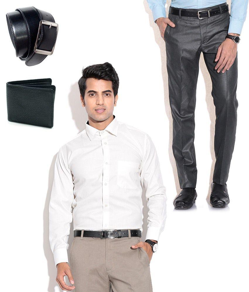 Fizzaro Combo of Formal Trouser, Shirt, Belt & Wallet