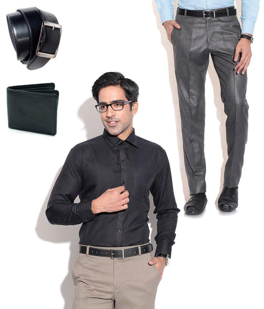 Fizzaro Grey Slim Flat Trouser
