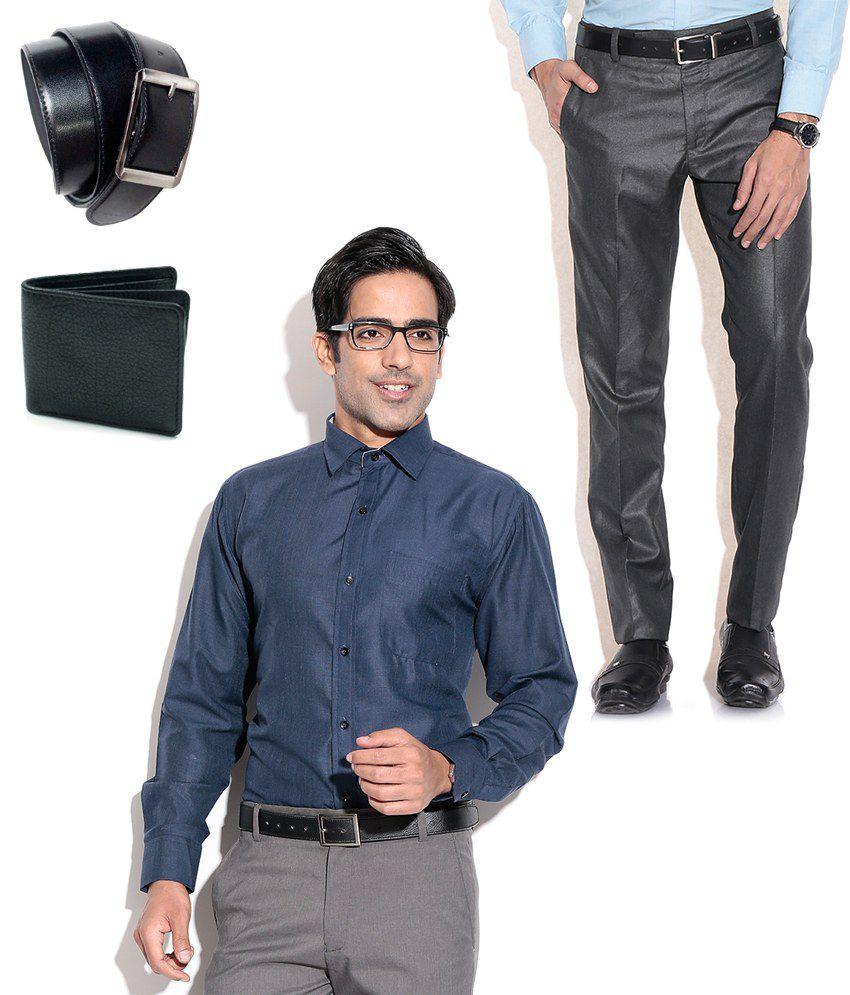 Fizzaro Superb Combo of Formal Trouser, Shirt, Belt & Wallet