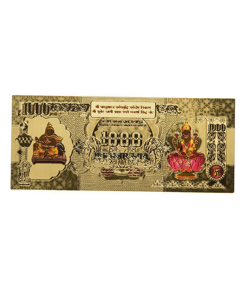 Odishabazaar Lakshmi Ganesh Saraswati Gold Foil Currency Note For Enhancement Of Wealth Gift