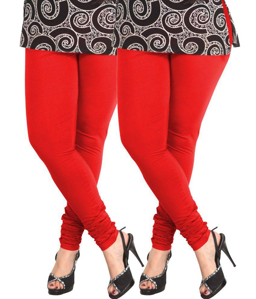 9348be00f64c3 Lux Lyra Red Cotton Churidar Leggings - Pack Of 2 Price in India - Buy Lux  Lyra Red Cotton Churidar Leggings - Pack Of 2 Online at Snapdeal
