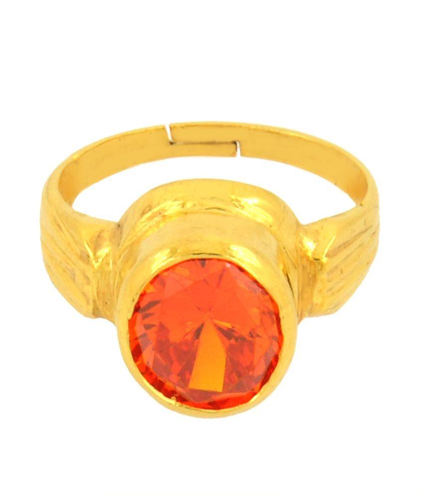 Avaatar 9.25 Ratti Diamond Substitute Red Zircon In Ashtadhatu