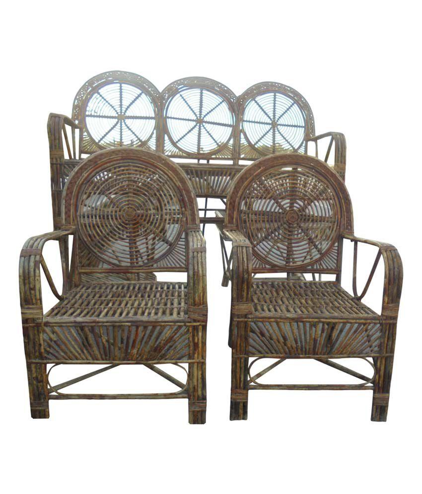 Dey Brown Bamboo Sofa Set