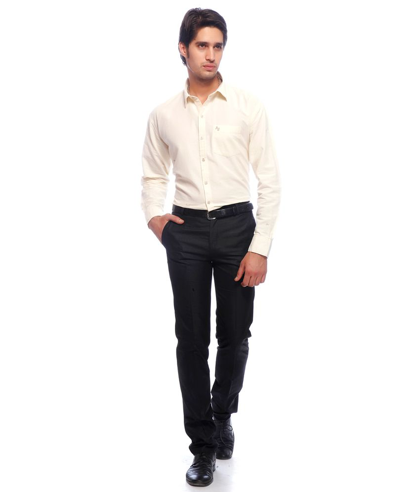 Adventure Black Cotton Slim Fit Formal Trousers For Men