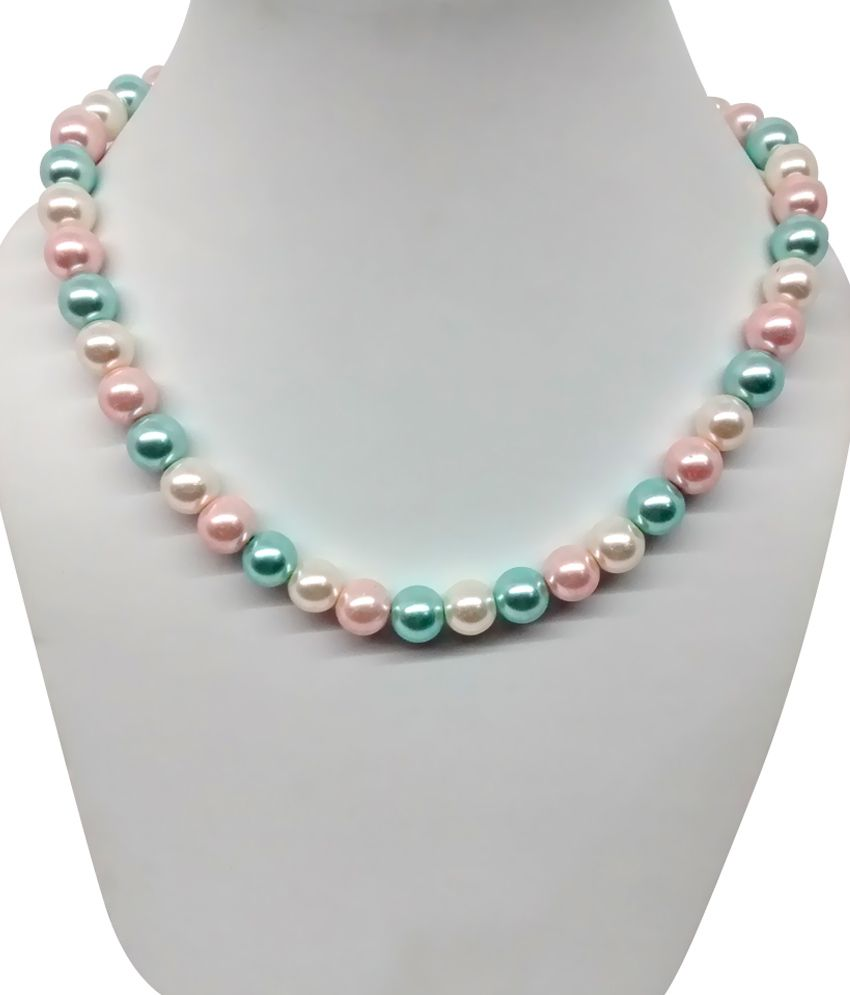 Single Line Beads: Bling N Beads Single Line Fancy Pearl In White Pink And