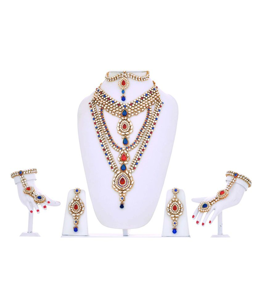 ad2f2cf5b Lucky Jewellery Multicolour Magenta Blue Kundan Bridal Necklace Set ...
