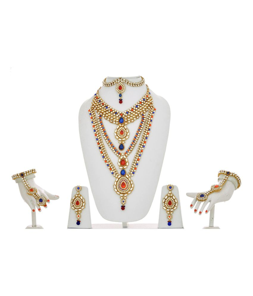ec9267d369 Lucky Jewellery Multicolour Red And Blue Kundan Bridal Necklace Set: Buy  Lucky Jewellery Multicolour Red And Blue Kundan Bridal Necklace Set Online  in India ...