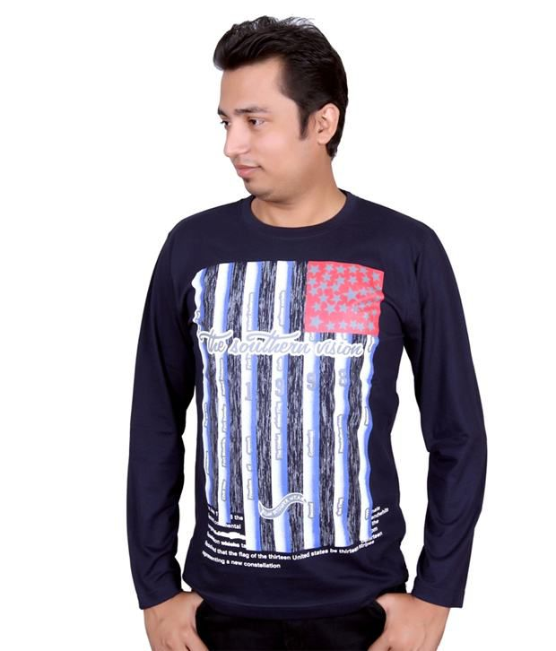 Fulon Navy Cotton Printed Full Sleeves Round Neck T-Shirt