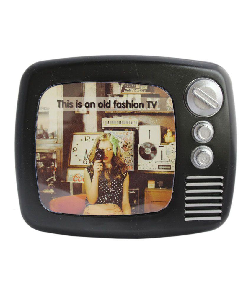 tootpado retro style tv with photo frame coin piggy kiddy savings money bank black buy. Black Bedroom Furniture Sets. Home Design Ideas