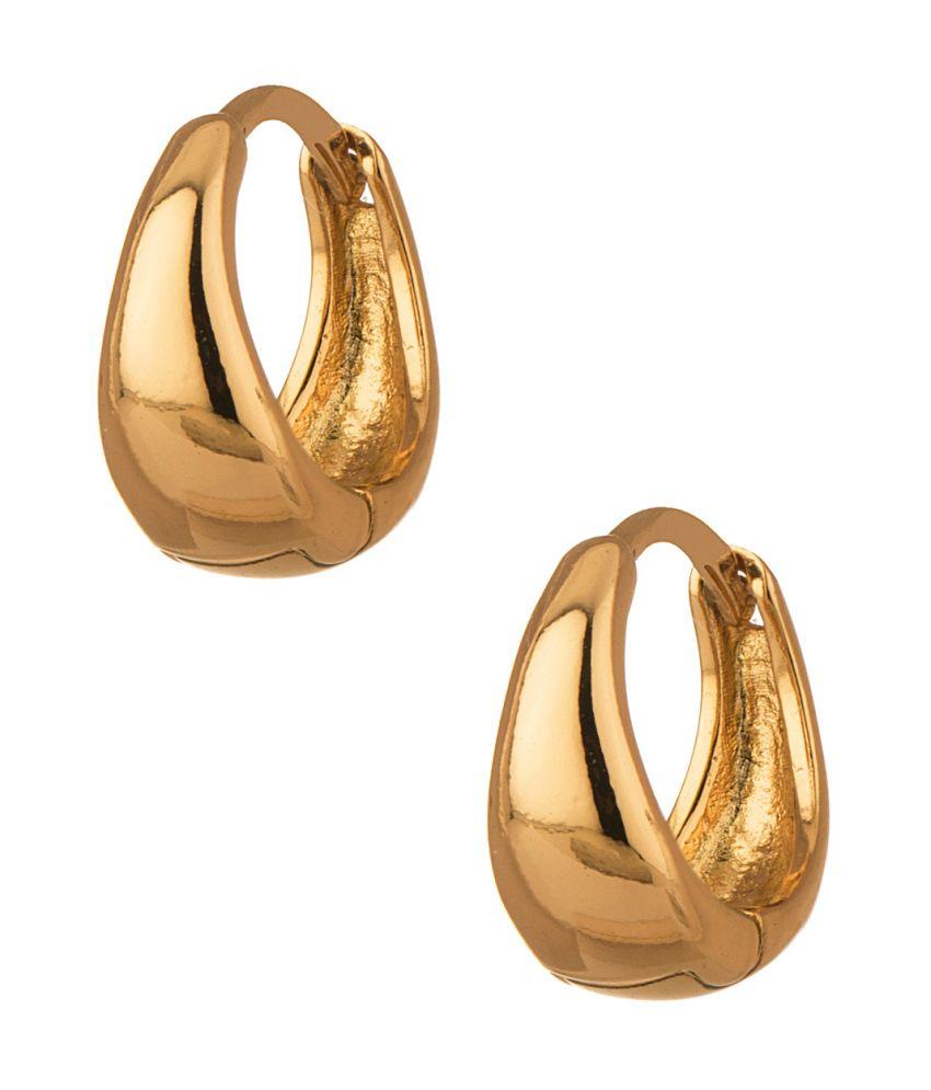 Voylla Gold Tone Pretty Pair Of Hoop Earrings