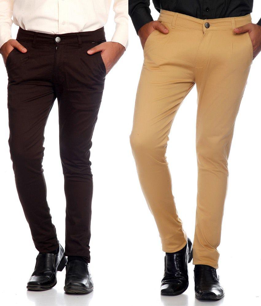 Haltung Brown & Beige  Cotton Blend Trousers