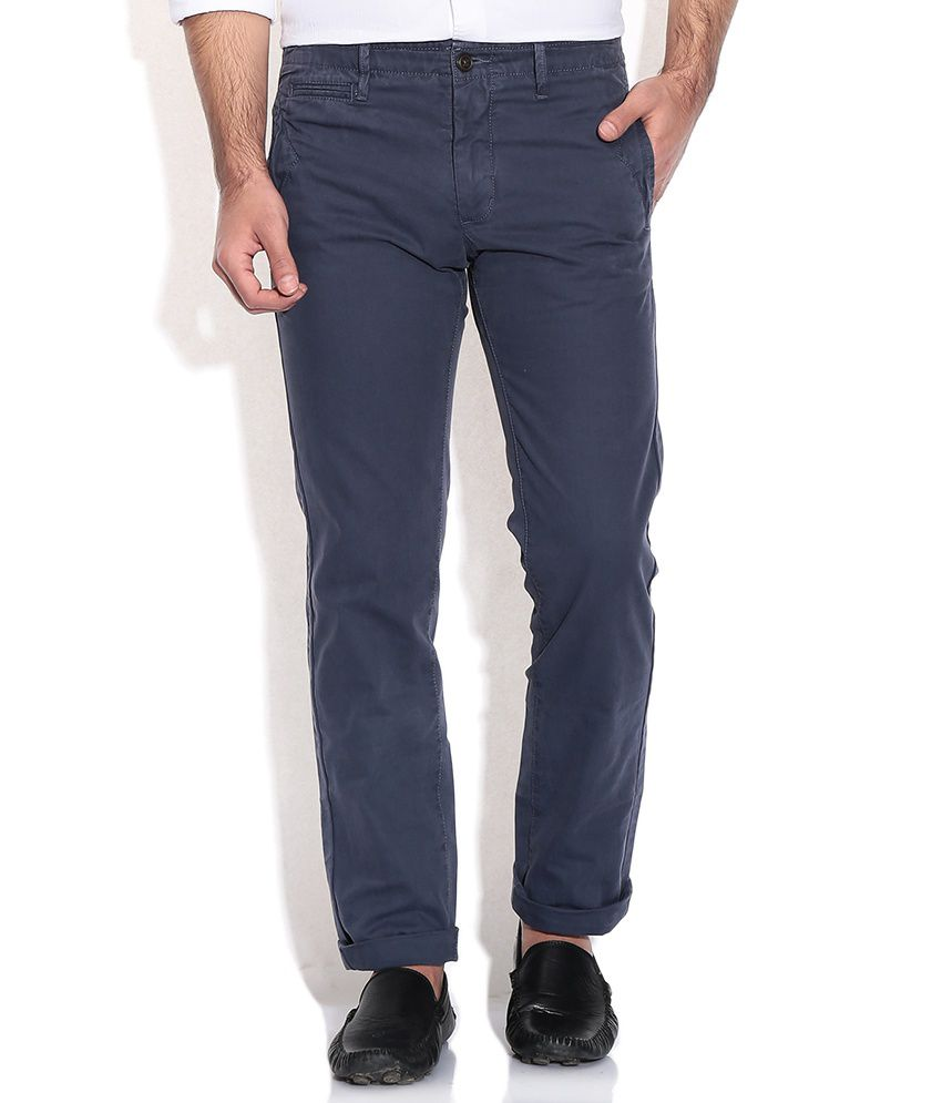 Indian Terrain Blue Cotton Regular Casuals Chinos