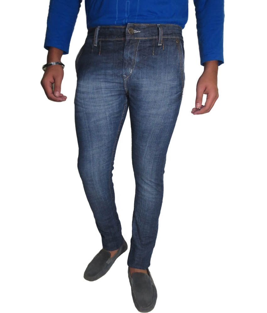 Roadcrack Blue Cotton Blend Slim Basics Jeans