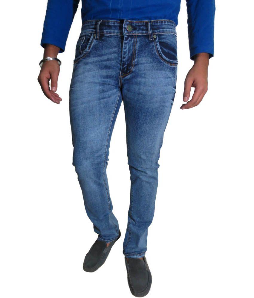 Roadcrack Blue Cotton Blend Slim Faded Jeans