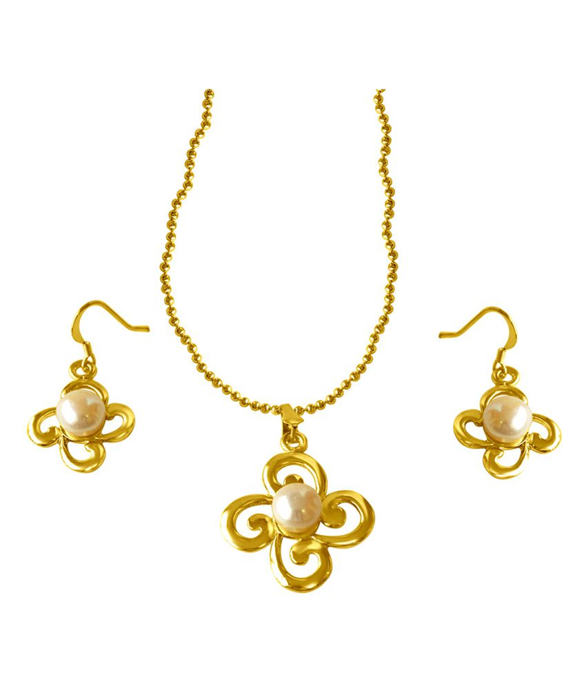 e96cb99864 Surat Diamond Trendy Real Big Button Pearl Gold Plated Pendant & Earring Set  With Chain - Buy Surat Diamond Trendy Real Big Button Pearl Gold Plated  Pendant ...