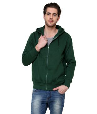 Casual Tees Cotton Blend Full Sleeve Dark Green Zippered Hooded Sweatshirt