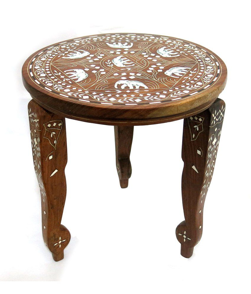 Art Palace Brown Sheesham Wood End And Side Table