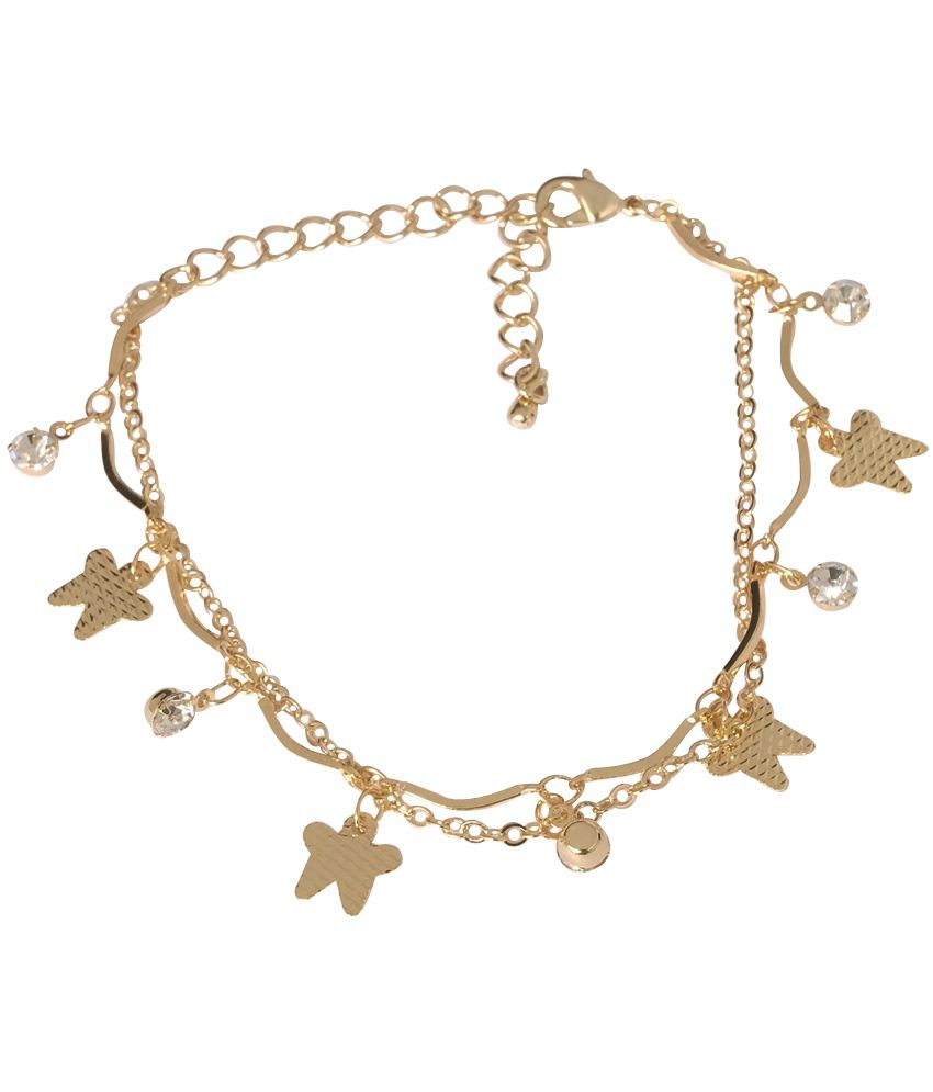 Super Drool Lil Butterfly And Crystal Stone Golden Charm Bracelet