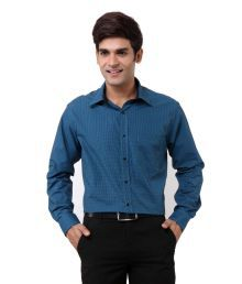 Oxemberg Accent Blue Check Formals Shirt