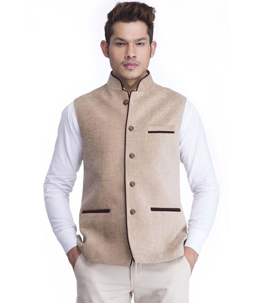 Platinum Studio Beige Solid Men's Waistcoat