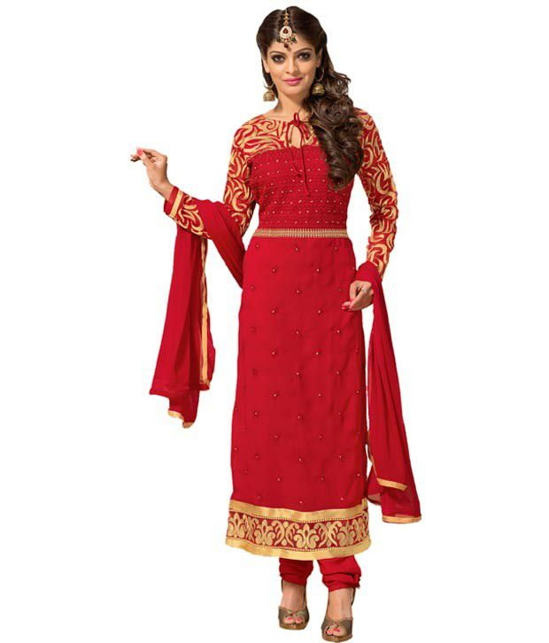 SAARA Red Georgette Unstitched Dress Material