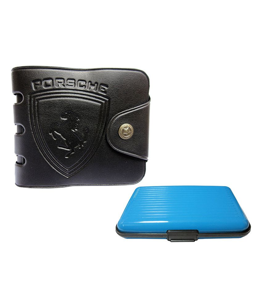 Apki Needs Stylish And Designer Mens Wallet & Sky Blue Colored Credit Card Holder Combo