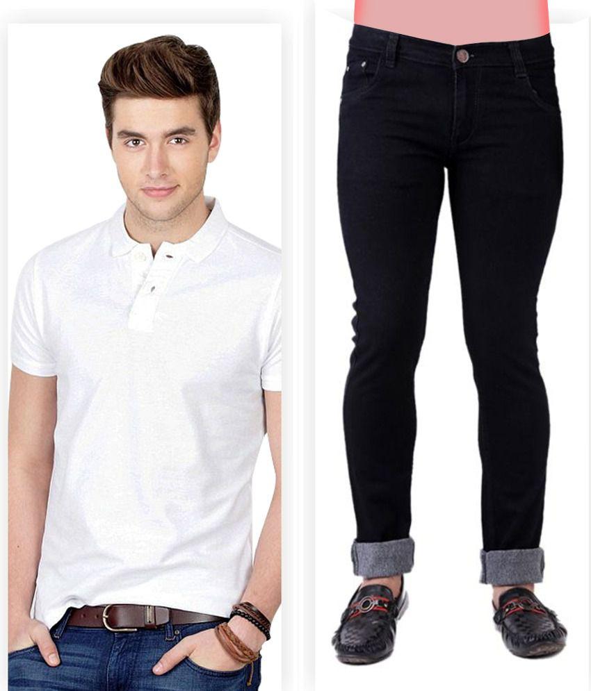 Haltung  Black Jeans & White Polo T Shirt Combo