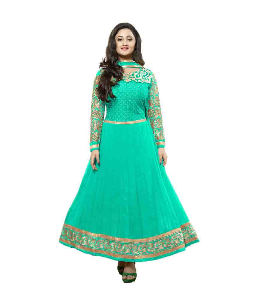 Indian wholesale clothing green georgette anarkali for Cheap clothing material