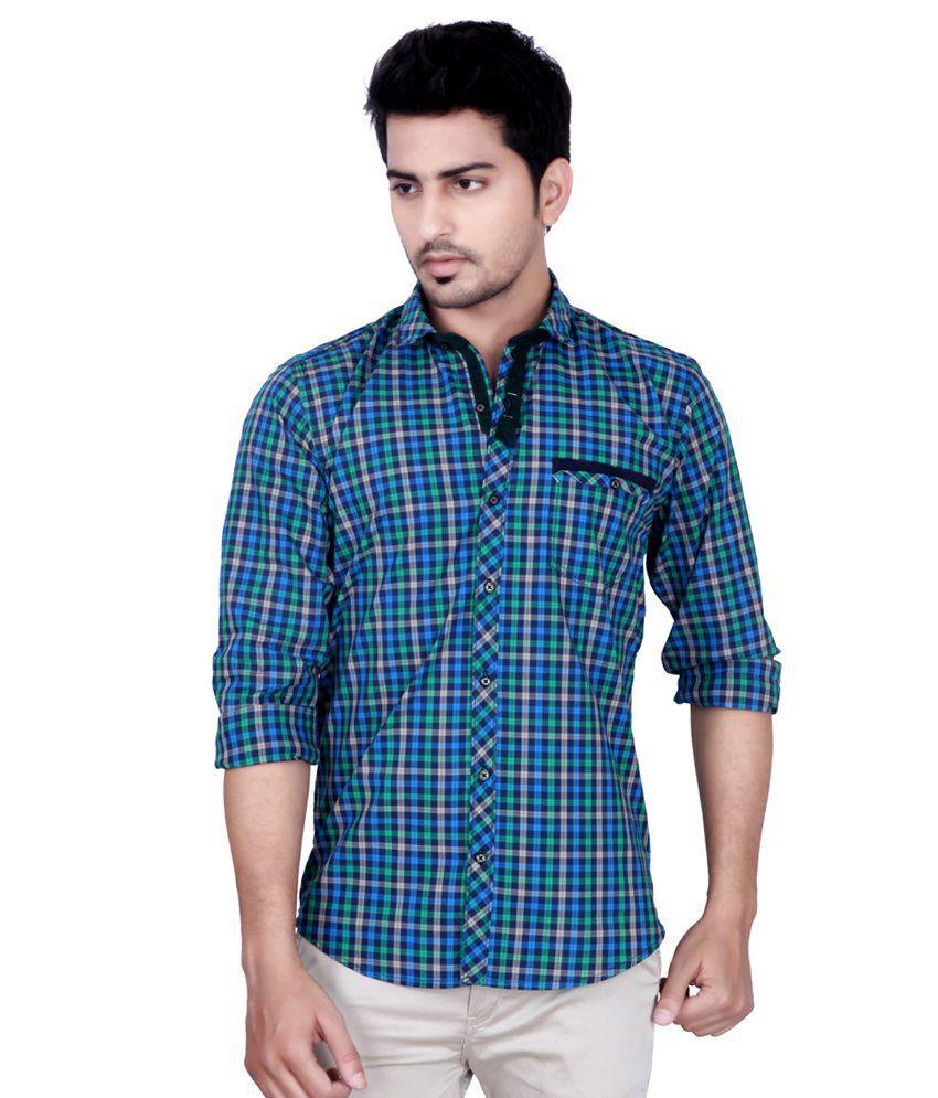 bc7d3fb777 Kivon Men Blue   Green Checked Slim Fit Smart-casual Shirt - Buy Kivon Men  Blue   Green Checked Slim Fit Smart-casual Shirt Online at Best Prices in  India ...